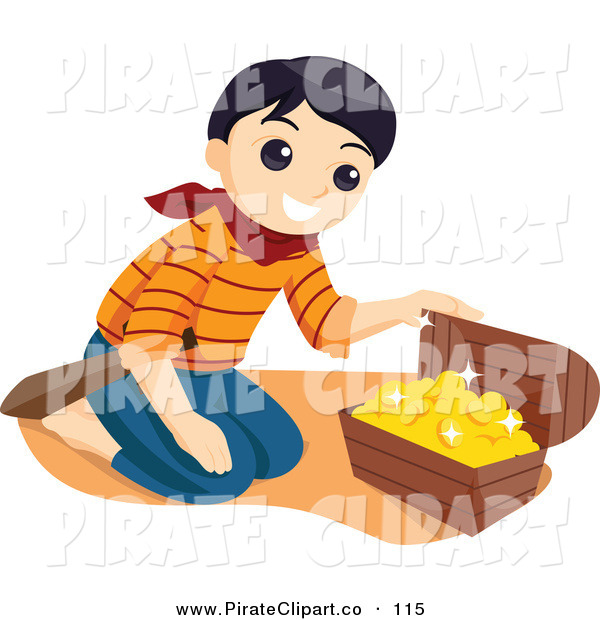 Of A Happy Pirate Boy Kneeling In Front Of Treasure Chest With Gold