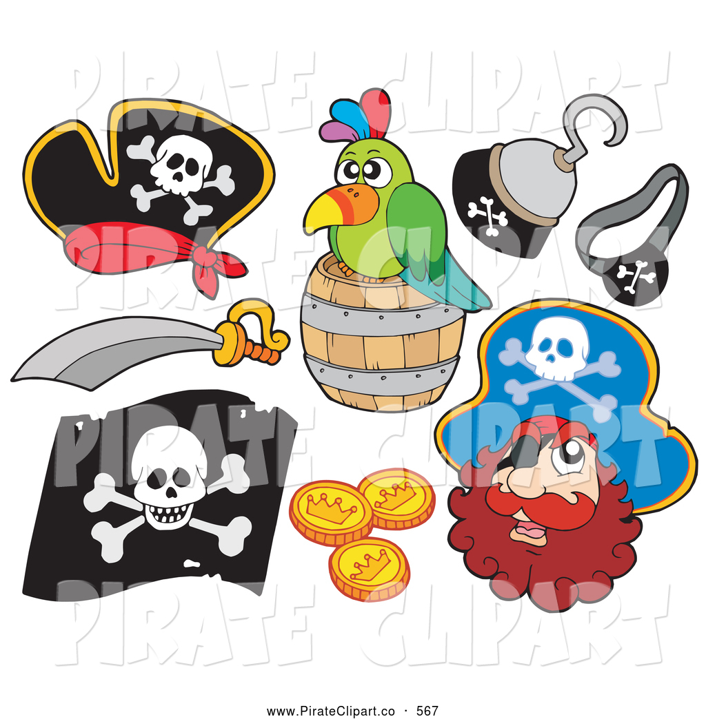Pirate Items  Hooks Gold Coins Green Parrot Sword Pirate Hat
