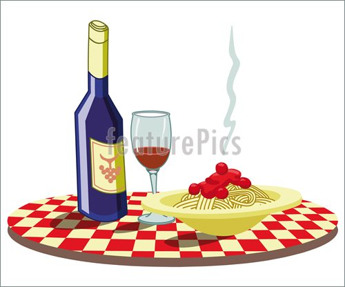 Spaghetti And Wine Illustration  Royalty Free Vector At Featurepics