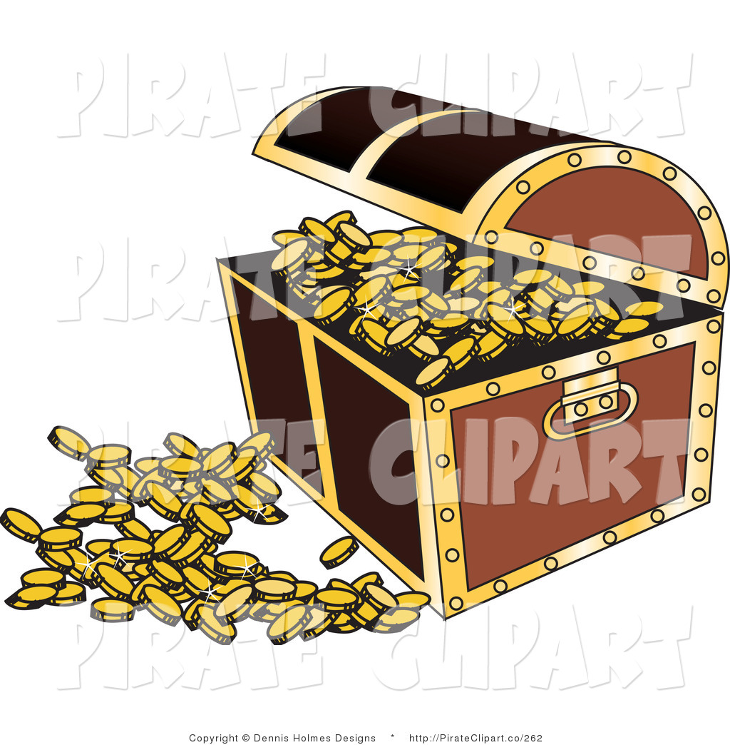 Vector Clip Art Of An Open Treasure Chest With Gold Coins Spilling Out