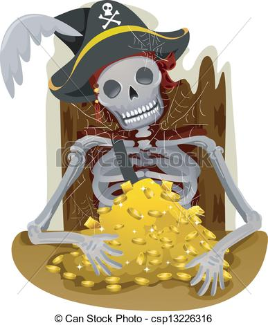 Vector Clip Art Of Pirate Gold   Illustration Of A Pirates Skeleton