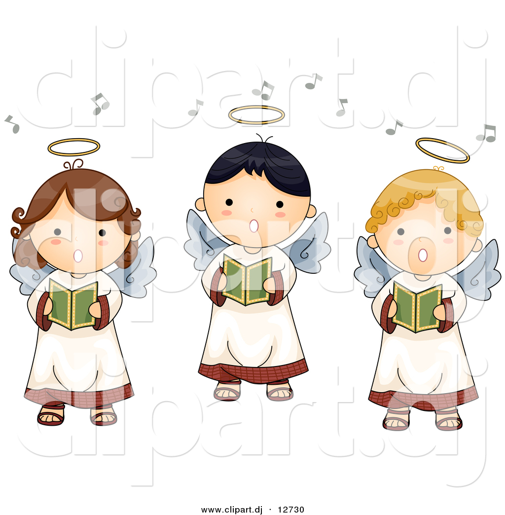 Vector Clipart Of 3 Cartoon Singing Angel Boys And Girls By Bnp Design