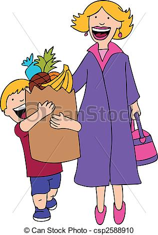 Vector Clipart Of Son Helps Mom With The Grocery Bag Cartoon