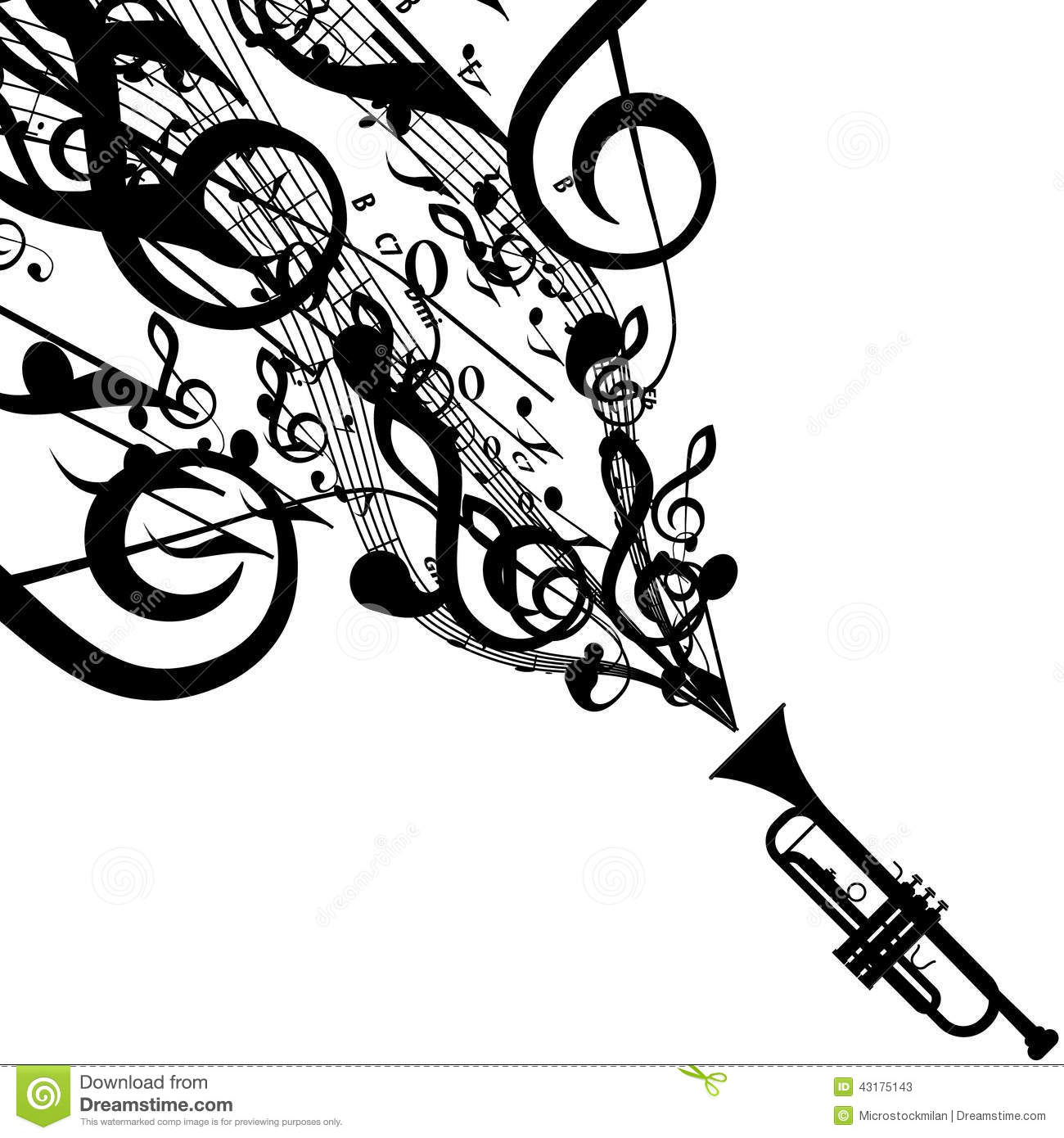 Vector Silhouette Of Trumpet With Musical Symbols Stock Vector   Image