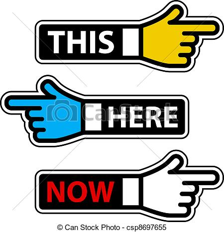Vector   Vector This Here Now Hand Pointer Labels   Stock Illustration
