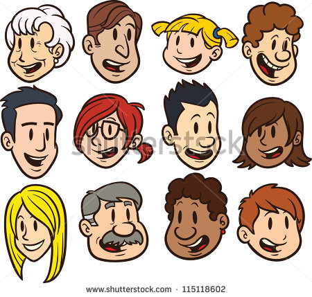 Cute Cartoon Faces  Clip Art Vector Illustration  Each In A Separate