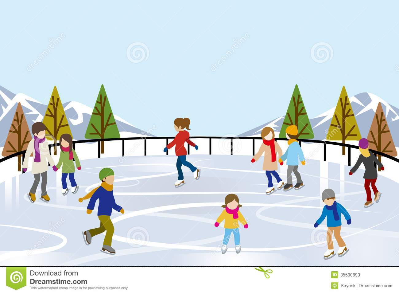 Ice Rink Clip Art People Ice Skating In Nature