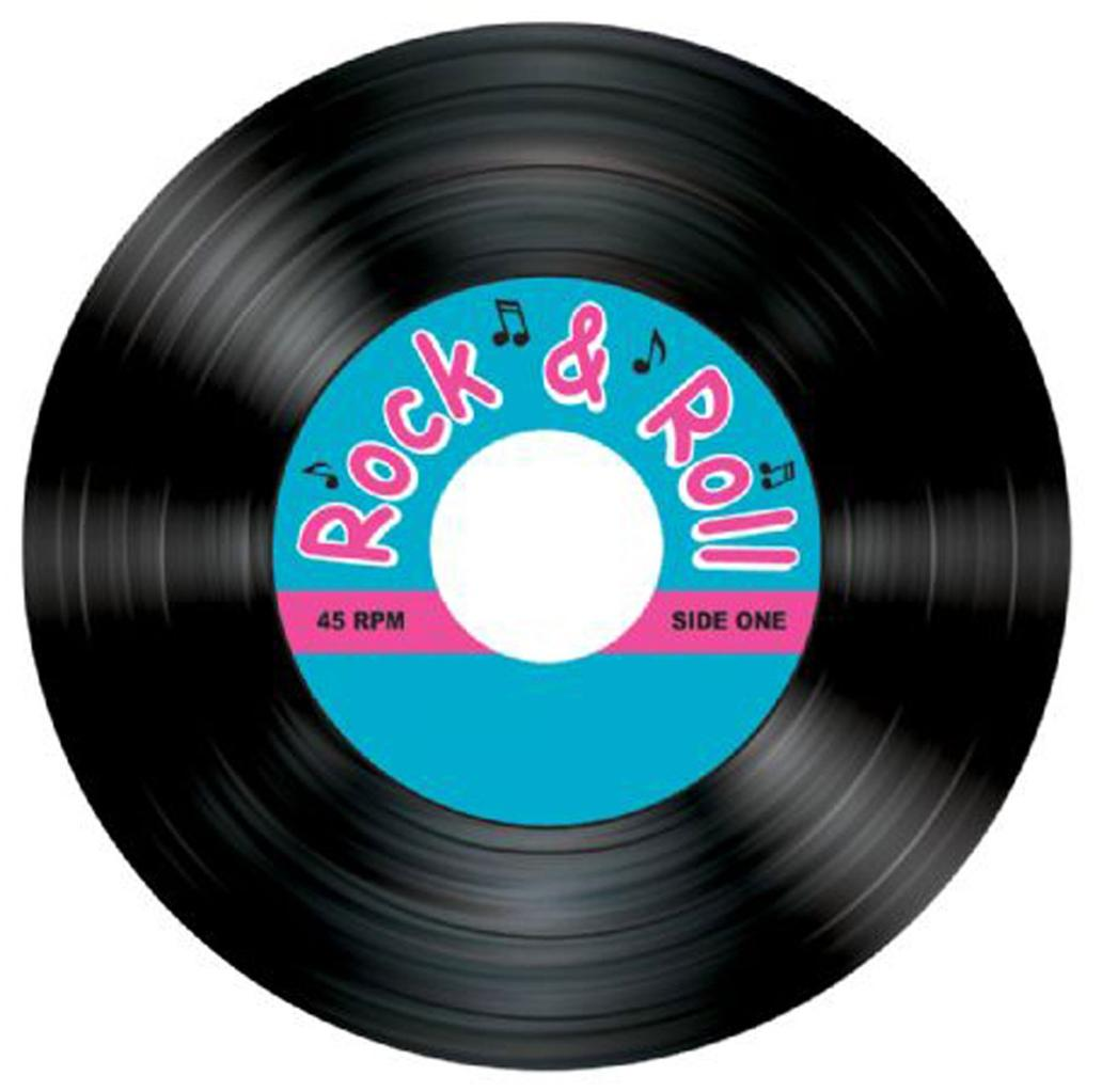 Pack 8 Drinks Coasters 50s Rock And Roll Record Table Decoration Party