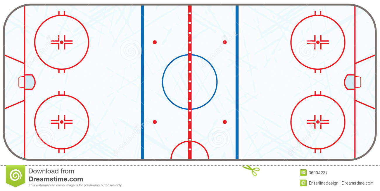 Realistic Ice Hockey Rink With Hatched Skate Marks  Eps 10  File
