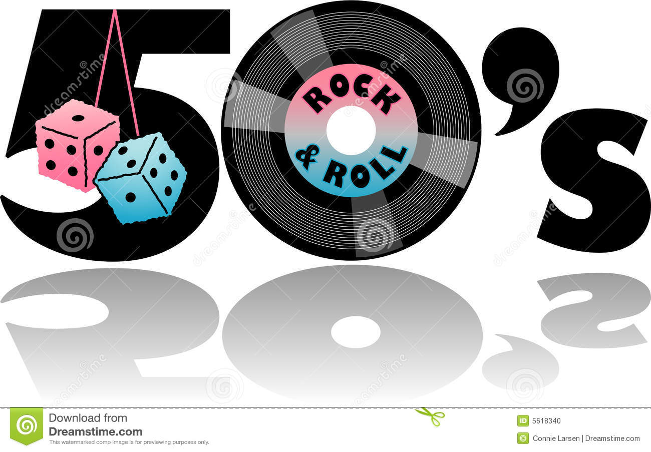 Retro 1950 S Illustration With Fuzzy Dice And 45 Record   Eps