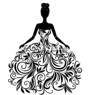 Silhouette Of Young Woman In Dress Vector By Svribalka   Image