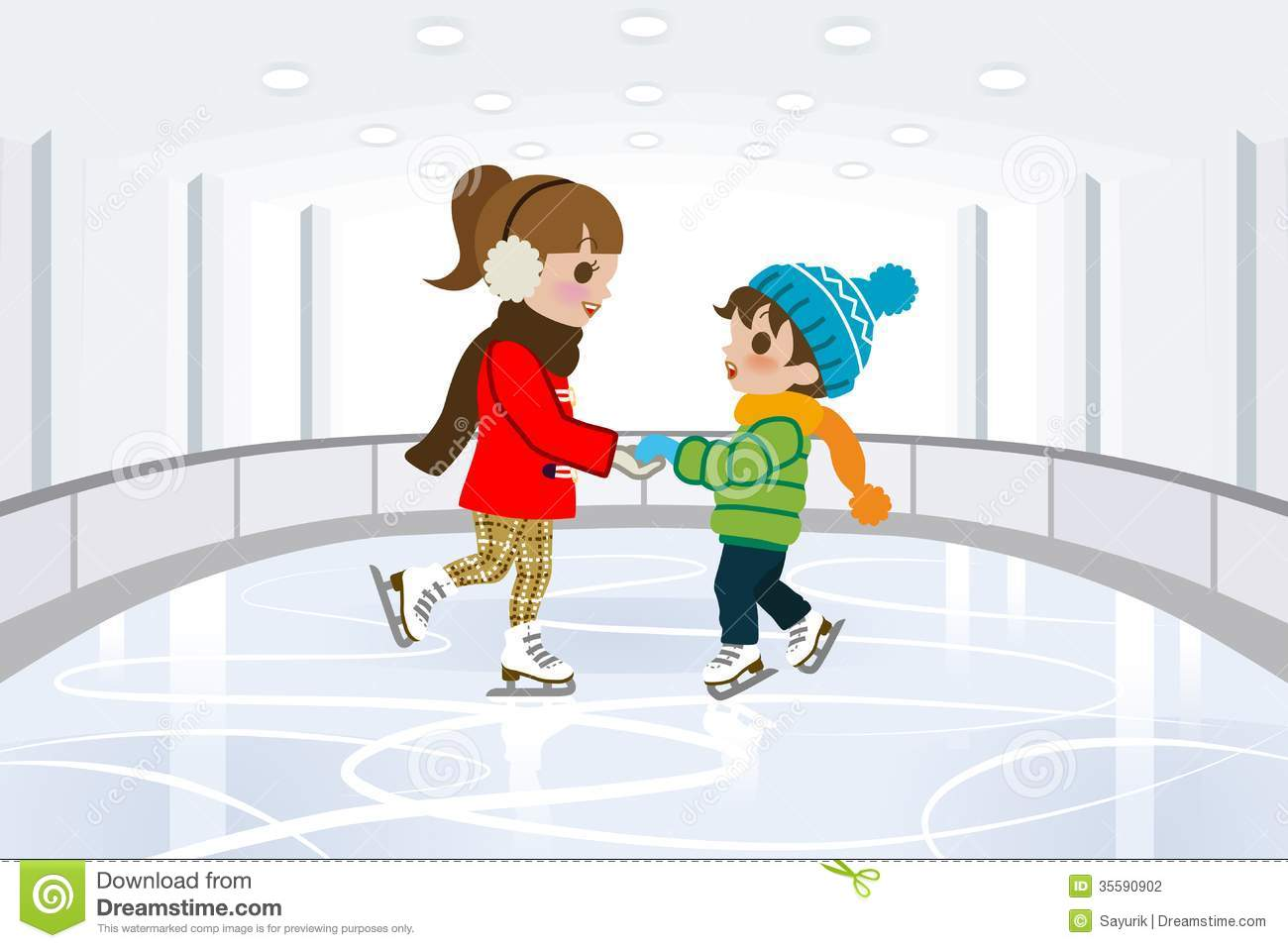 Two Kids In Indoor Skating Rink Stock Photography   Image  35590902