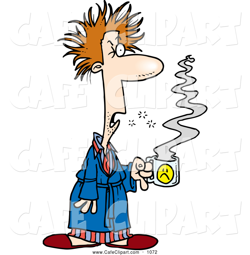 Clip Art Of A Tired Cartoon Tired Man With Bad Hair Holding Coffee