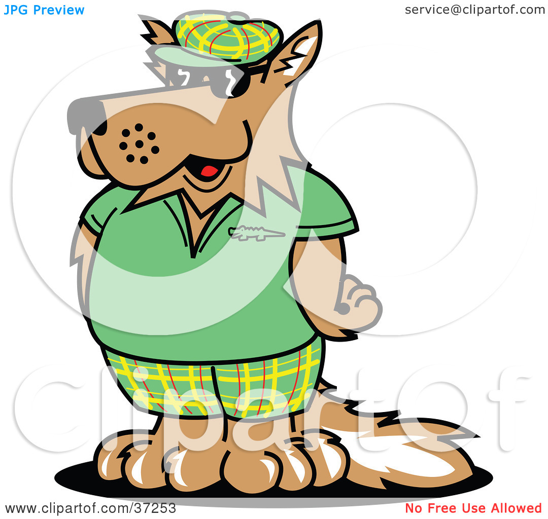 Clipart Illustration Of A Cool Dog In Green Golf Clothes By Andy