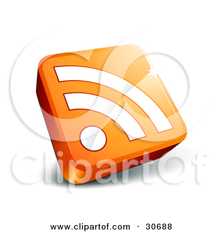 Clipart Illustration Of An Orange News Site Icon With A 3d Rss Symbol
