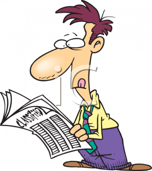 Clipart Image  Cartoon Guy Looking Through The Classifieds For A Job