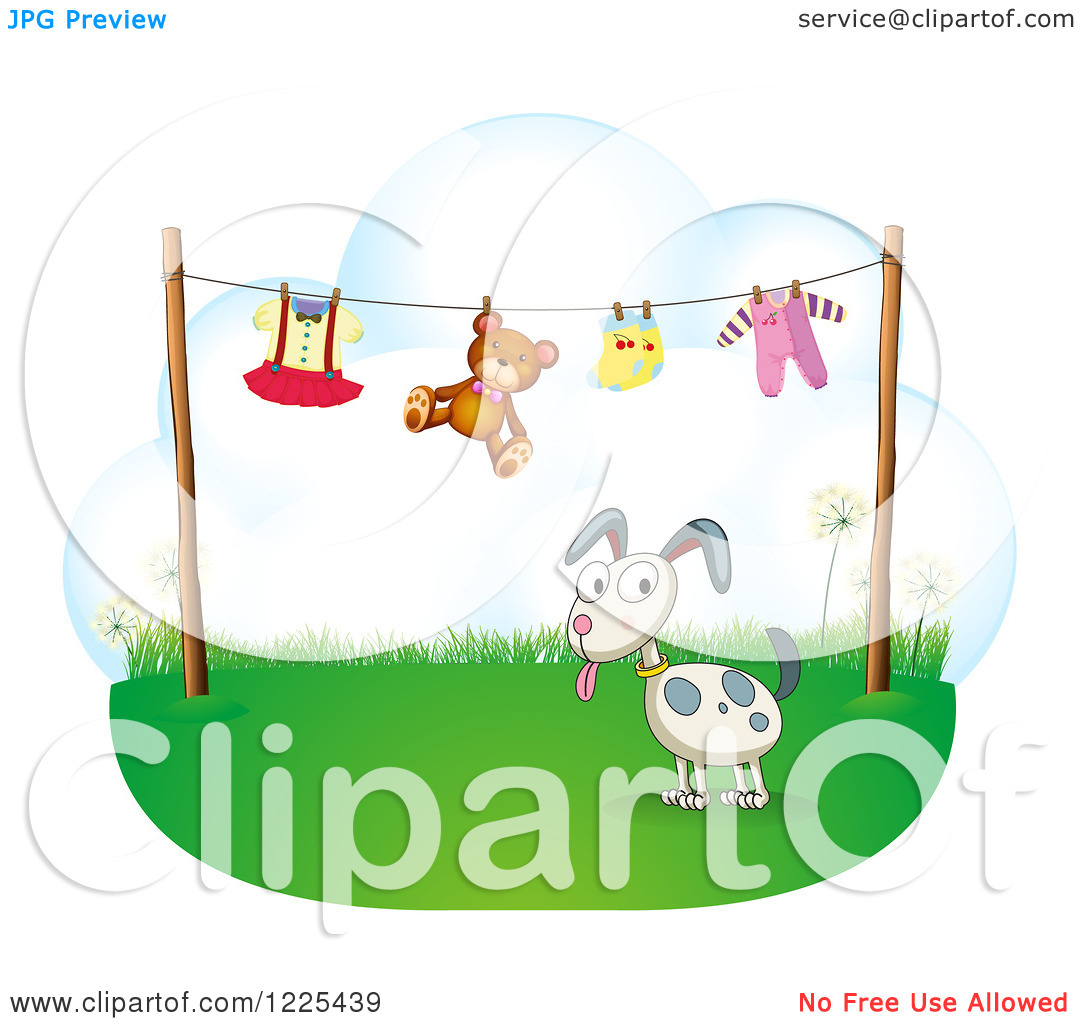 Clipart Of A Dog Under A Clothes Line   Royalty Free Vector
