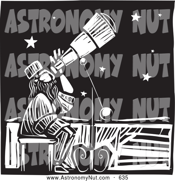 Clipart Of A Friendly Astronomer Star Gazing Through A Telescope Black