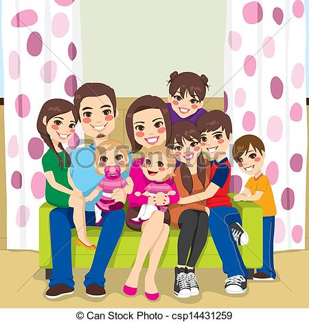 Clipart Vector Of Happy Large Family   Large Family Of Mother And