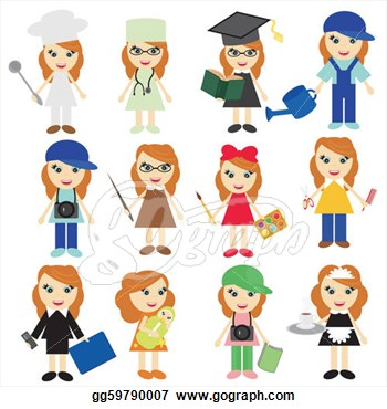 Different Jobs Girls On White  Vector Clipart Gg59790007   Gograph