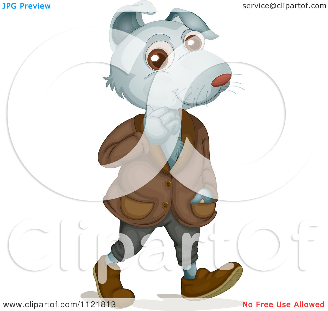 Dog Wearing Clothes And Walking Upright   Royalty Free Vector Clipart
