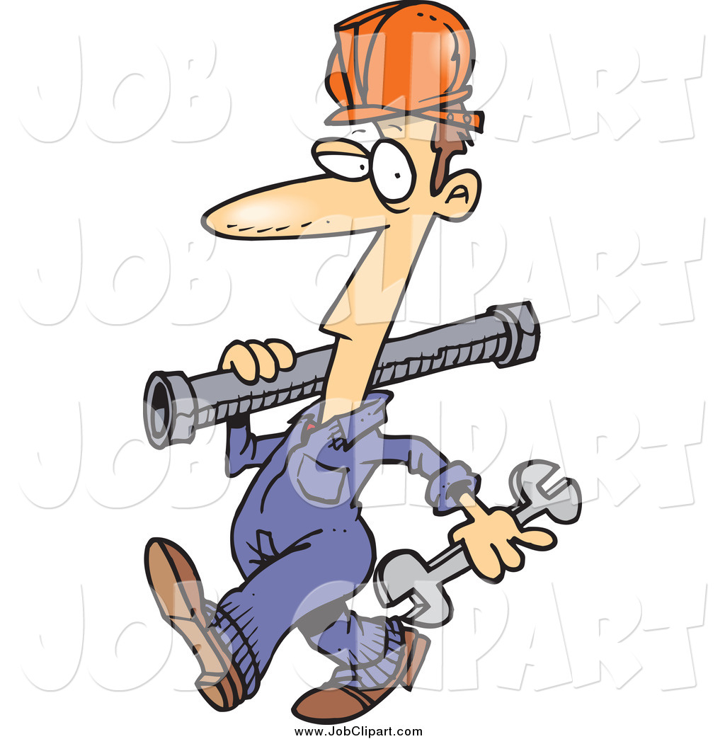 Job Clip Art Of A Cartoon Pipe Rigger Walking By Ron Leishman    4769