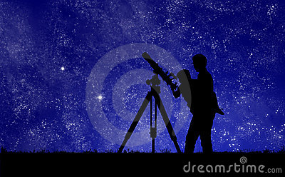 Man Showing His Child The Midnight Stars Through A Telescope