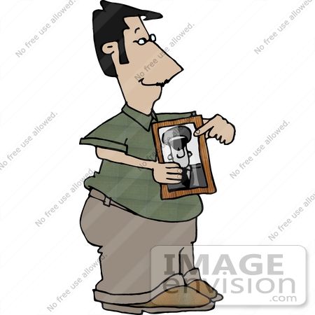 Royalty Free Clipart Of A Proud Military Dad Holding A Picture Of His