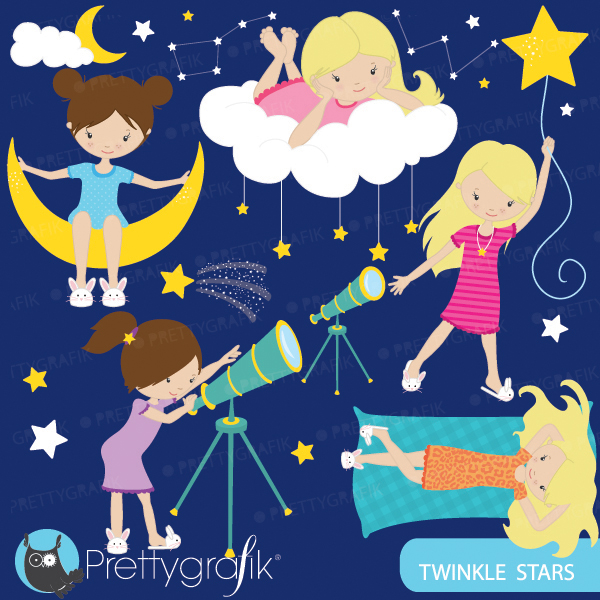 Star Gazing Girls Clipart