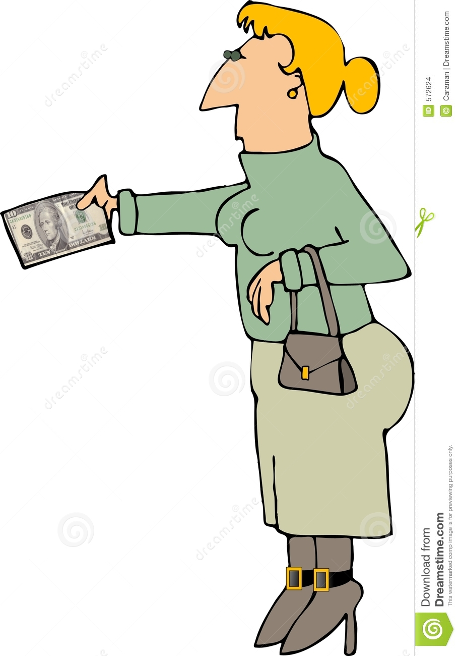 This Illustration Depicts A Woman Holding Out A Ten Dollar Bill
