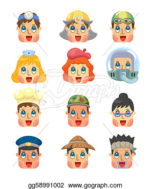 Vector Art   Cartoon People Job Face Icons Set  Clipart Drawing