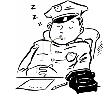 Vintage Cartoon Of A Policman Sleeping On The Job   Royalty Free Clip