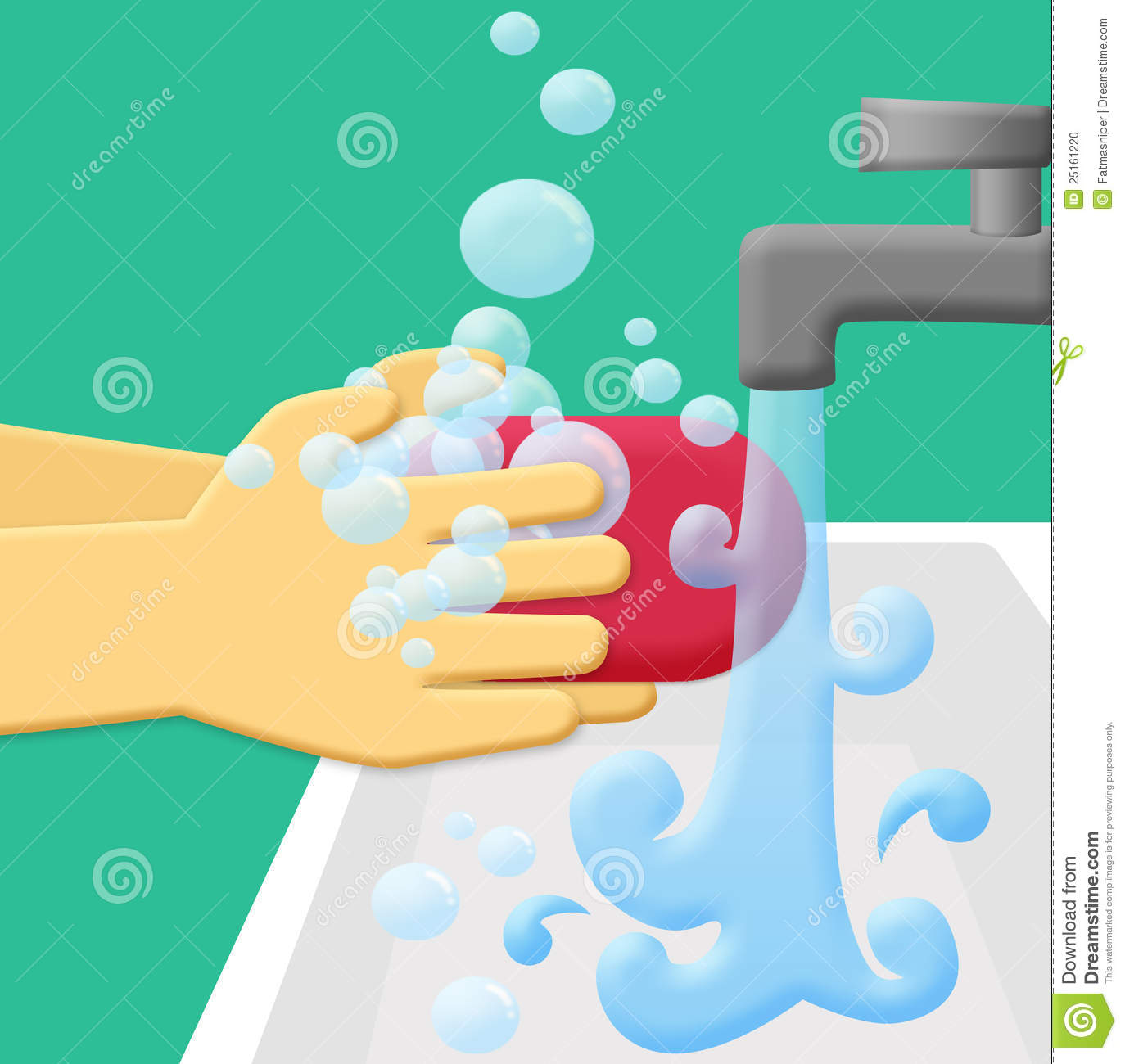 Wash Hands Using Soap And Rinse With Running Water