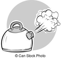 Boiling Kettle   Steam Blasting From A Boiling Cartoon