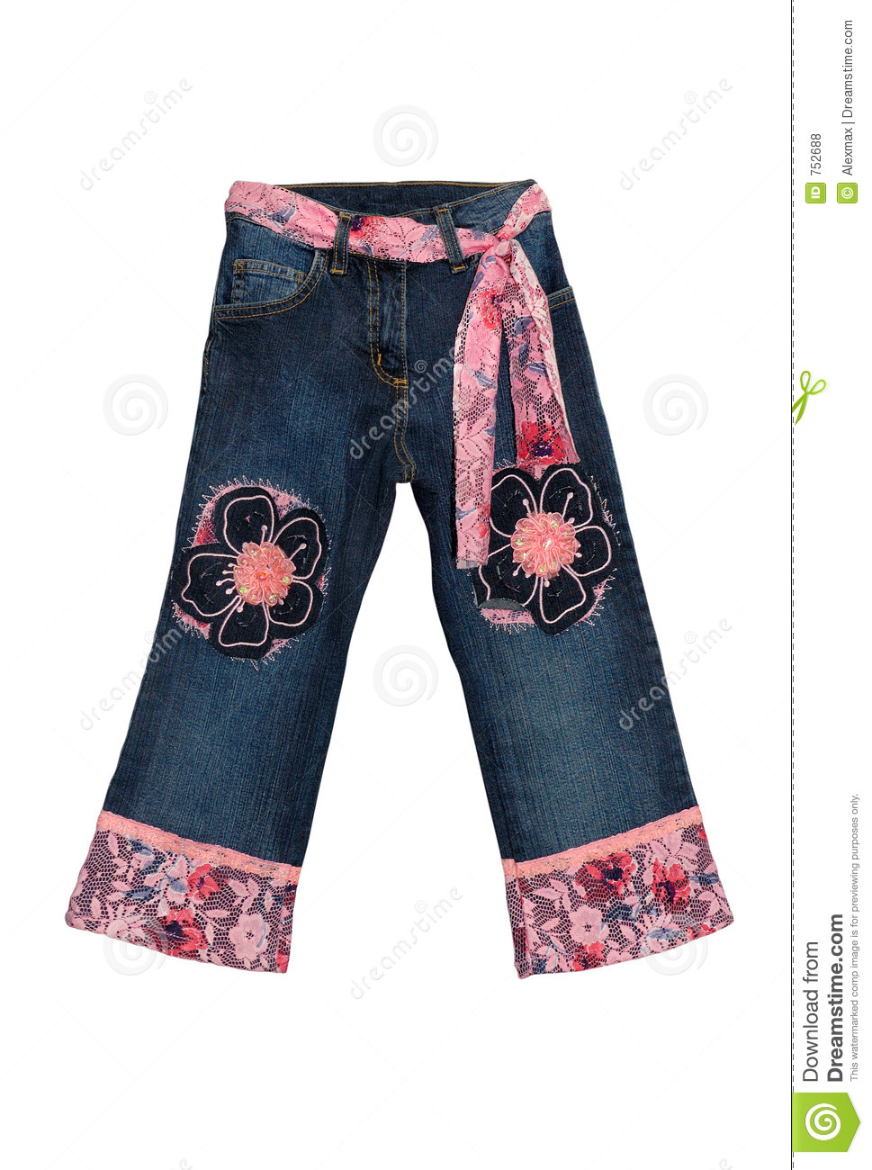 Children S Clothing Blue Girl Jeans With Pink Flowers Pattern And Belt
