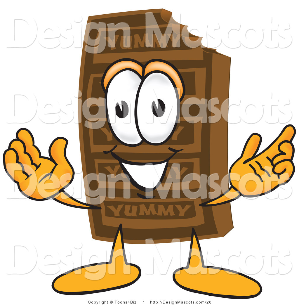 Chocolate Candy Bar Mascot With Open Arms Chocolate Candy Bar Mascot