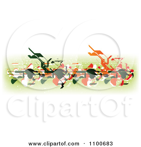 Clipart Abstract Horizontal Bar Of Green White Red And Orange Designs