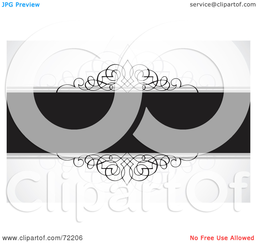 Clipart Illustration Of A Dark Gray Text Bar With Ornamental Designs