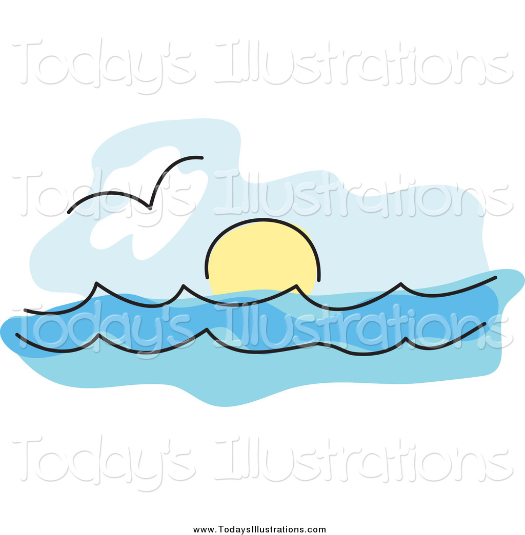 Clipart Of A Seagull Over The Surf And The Sun On The Horizon Of The