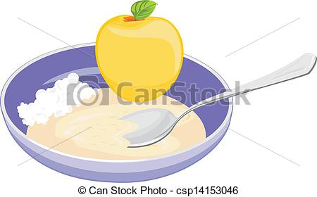 Eps Vector Of Bowl With Oatmeal Curd And Apple Vector Illustration