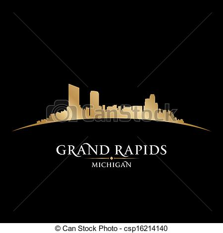 Eps Vector Of Grand Rapids Michigan City Skyline Silhouette Black