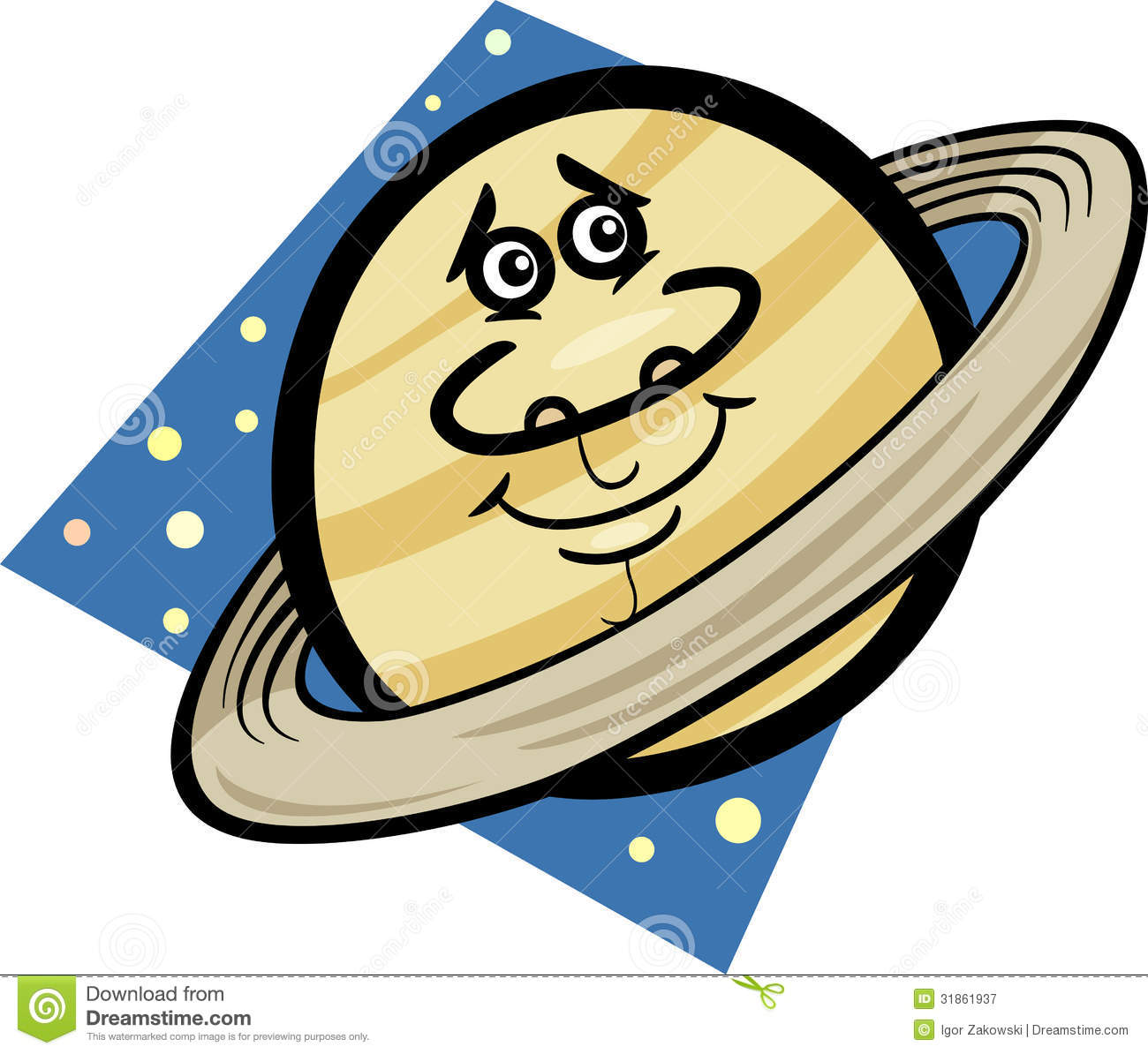 Free Stock Photography  Funny Saturn Planet Cartoon Illustration