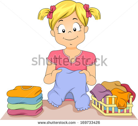 Illustration Of A Little Girl Folding A Stack Of Clothes   Stock