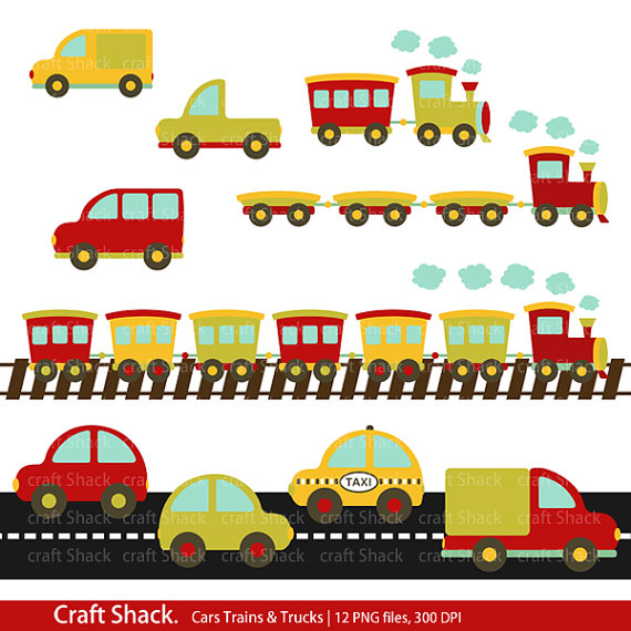 Items Similar To Cars Trains And Trucks Clipart  12 Png Files  On Etsy