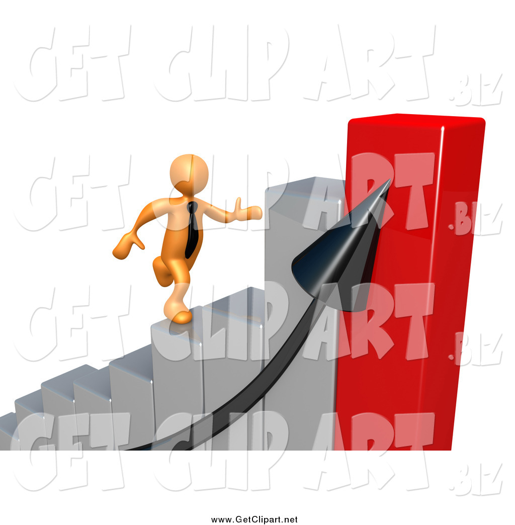 Larger Preview  Clip Art Of A Bar Graph And 3d Orange Man Running Up
