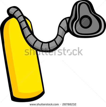 Medical Gas Tank With Breathing Mask Or Scuba Diving Equipment   Stock
