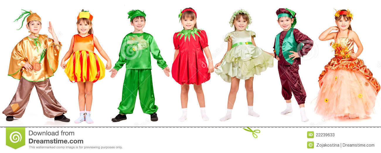 Small Children Wearing Different Bright Fancy Dress Isolated On White