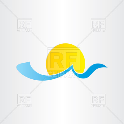 Sun And Sea Wave   Summer Icon 77549 Download Royalty Free Vector
