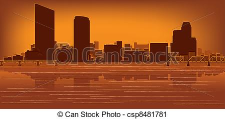 Vector Clip Art Of Grand Rapids Michigan Skyline With Reflection In
