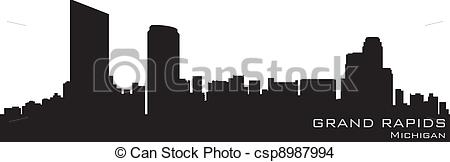 Vector   Grand Rapids Michigan Skyline  Detailed Vector Silhouette